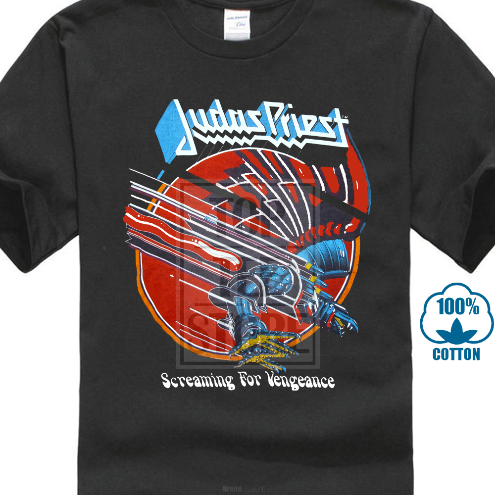 Print 3D Men   T     Shirt   Sleeve Judas Priest Screaming For Vengeance Metal Rock Band Retro Vtg Retro   T     Shirt   M