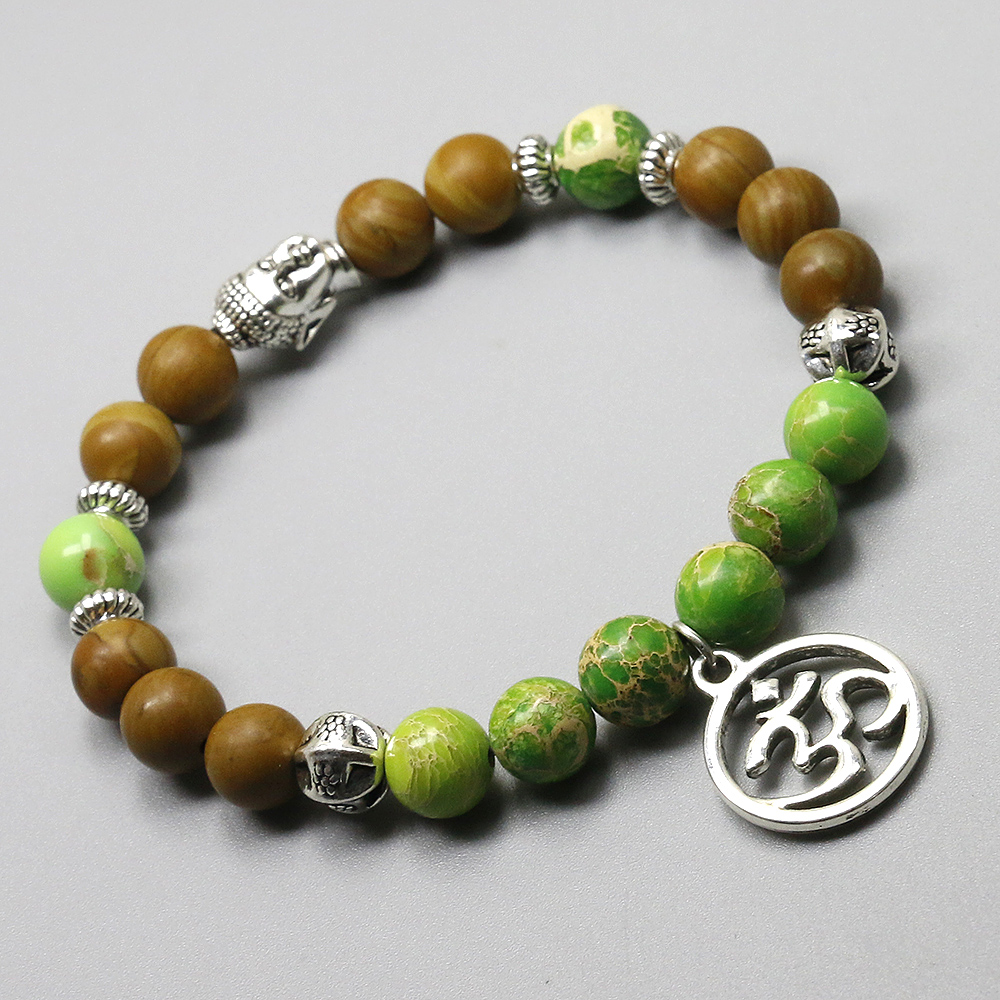 Wood and Imperial Stone Om Bracelet 2