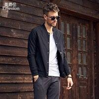 Enjeolon 브랜드 2018 캐주얼 폭격기 재킷 코트 남성, 블랙 솔리드 남성 사이즈 XS 2XL 코트 의류 스탠드 칼라 남성 의류 JK0326