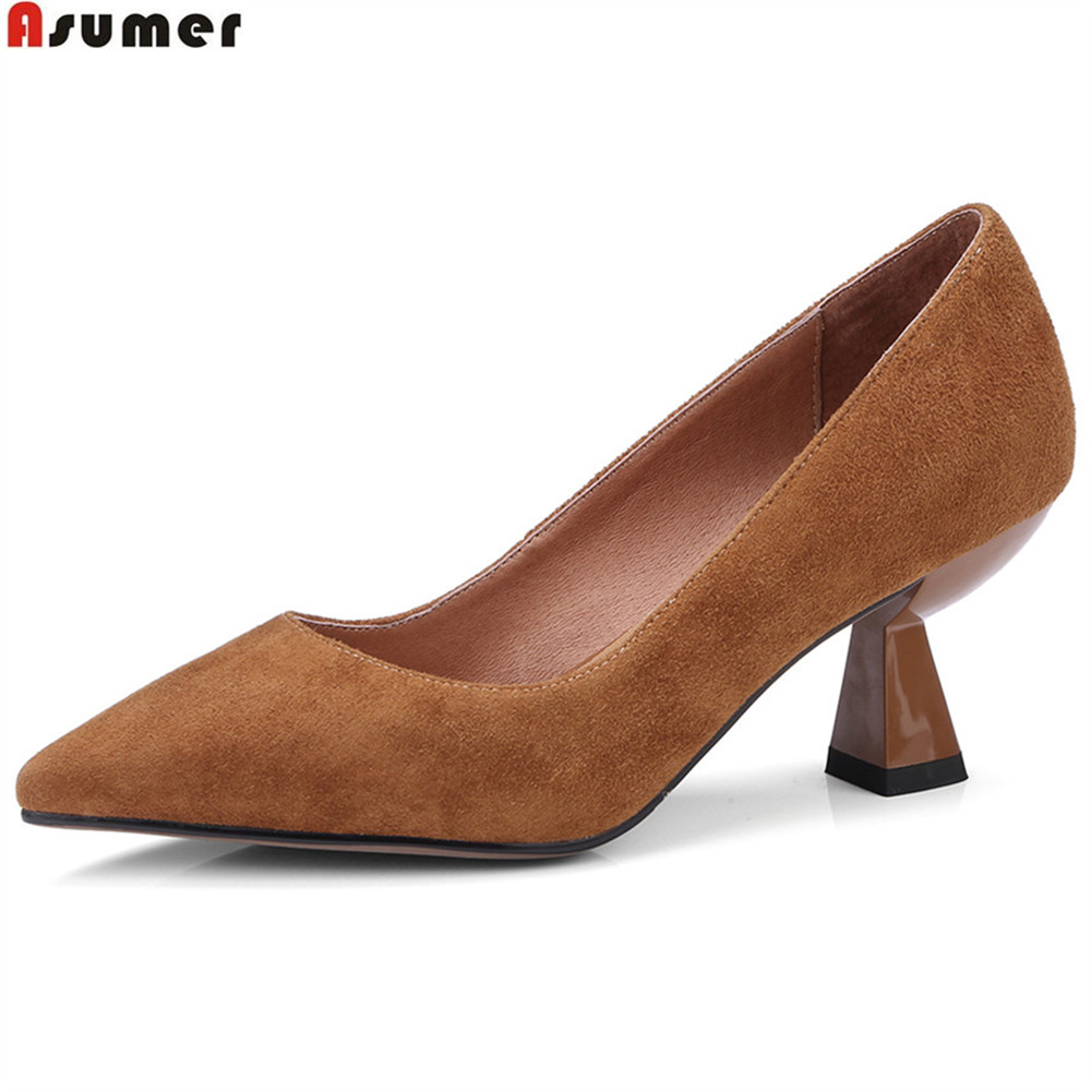 ASUMER black pink brown pointed toe shallow ladies pumps shoes spring autumn new size 40 women suede leather high heels shoes women genuine leather slip on pointed toe lazy shoes sweet bow knot shallow party spring autumn women pumps black pink