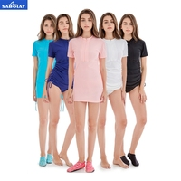 SABOLAY Women Rash guards Quick Dry Swimwear Female Swimsuits Bodysuit Short Sleeves Beach Bathing Suits Skirt and Underpants