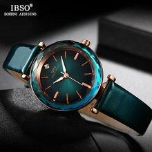 IBSO marka lüks kadınlar kristal saatler moda kesim cam tasarım kol saati kadın deri Quartz saat Montre Femme