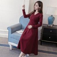 2018 pregnant women spring and autumn new maternity dress bow tie Korean long sleeved breastfeeding dress