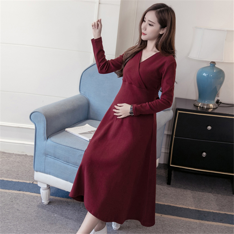 2018 pregnant women spring and autumn new maternity dress bow tie Korean long-sleeved breastfeeding dress self tie dual pocket front dress