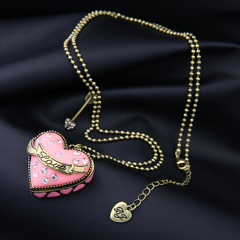 76c72459ddf 패션 여성 쥬얼리 분홍색 달콤한 긴 구슬 체인 오픈 하트 펜던트 목걸이 빈티지 화화살은 디자인 초커 스웨터 목걸이 선물-에서패션 여성  쥬얼리 분홍색 달콤한 긴 ...