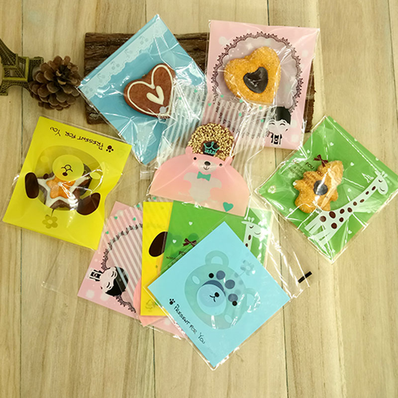 20 Pcs 10x10cm Candy Cookies font b Bags b font with adhesive OPP Plastic gift font