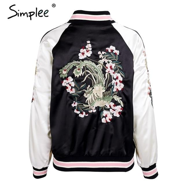 Simplee Reversible embroidery satin jacket coat sukajan Autumn winter 2017 flower basic jackets women Casual baseball jackets 10
