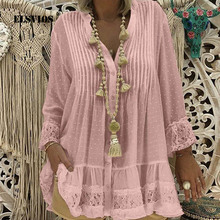 WHOHOLL Plus Size Lace Polka Dot Chiffon Blouse Shirts Women Summer Solid Loose Vintage Tops Ladies Casual Pullover