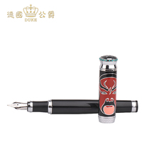 Duke 368 Guan Gong Opera Face Iridium Gold Fountain Pen and Pure Black Ink Pen with Crystal Crown Individual Student Writing Pen