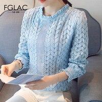 FGLAC 3 Color Women Blouse Shirt New Arrivals 2017 Autumn Lace Tops Fashion Elegant Slim Long
