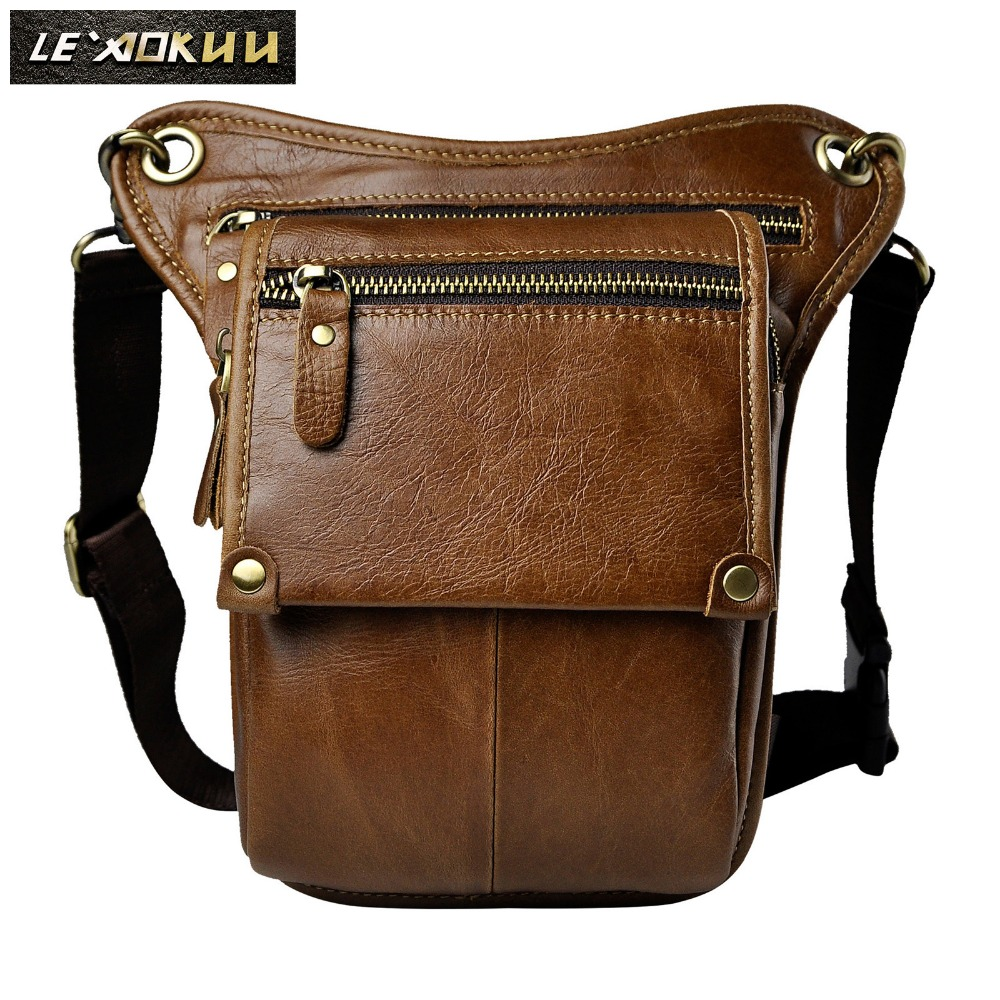 Original Leather Men Casual Fashion Small Shoulder Messenger Sling Bag Design Travel Waist Belt Pack Pouch Drop Leg Bag 211-4l