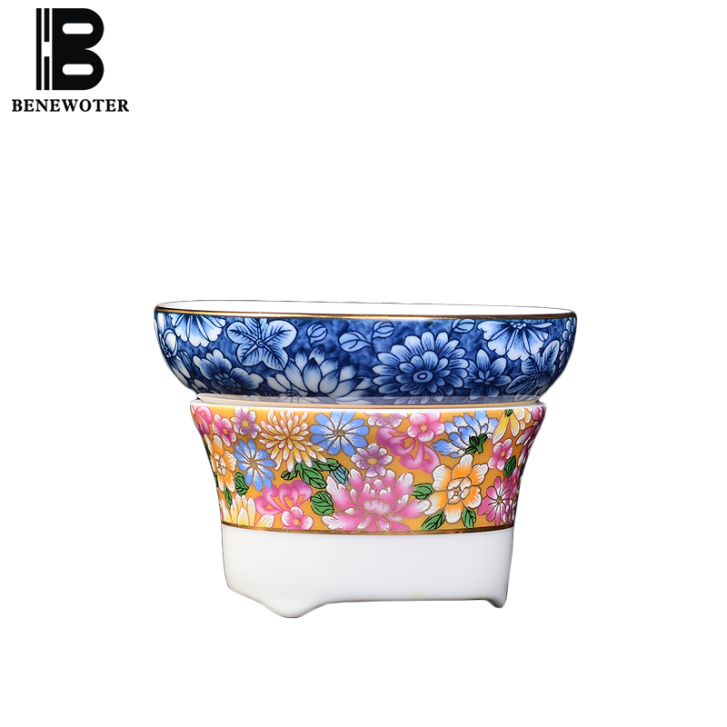 Creative Hand Painted Enamel Color Tea Strainers Chinese Kung Fu Tea Set Accessories Tea Drain Coffee Milk Filter Teaware Gifts