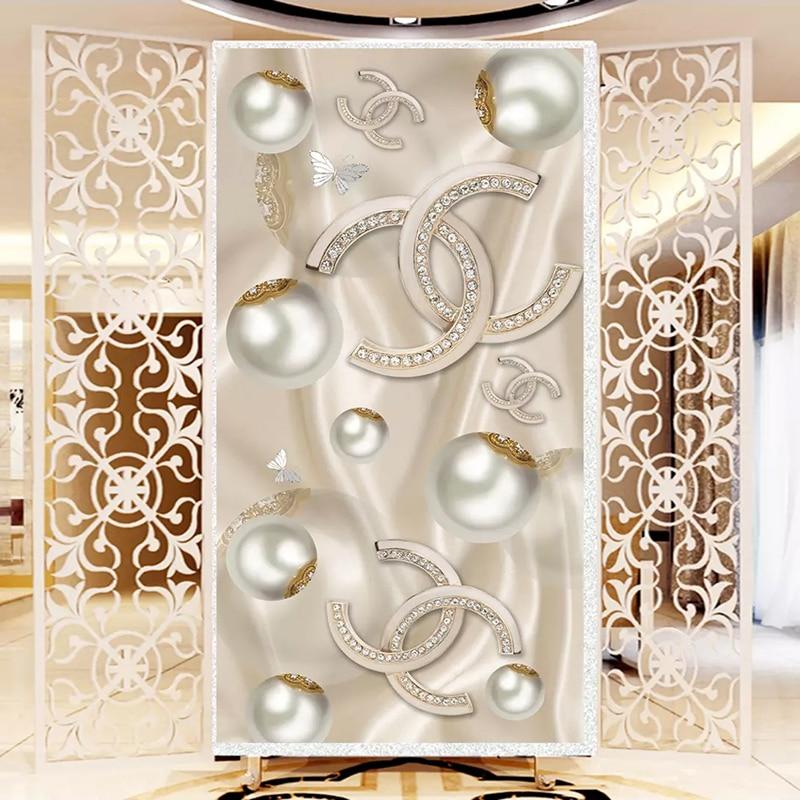 Custom 3D Photo Wallpaper For Living Room Entrance Corridor Background Jewelry Diamond Butterfly 3D Mural Wallpaper Home Decor