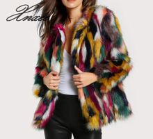 Xnxee fur coat colorful faux multi-color long-sleeved collarless casual female winter