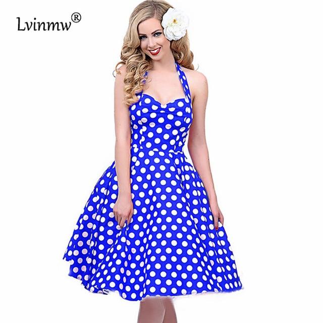 Lvinmw S 2xl Elegant Vintage Print Red Sleeveless Dot Women 50s