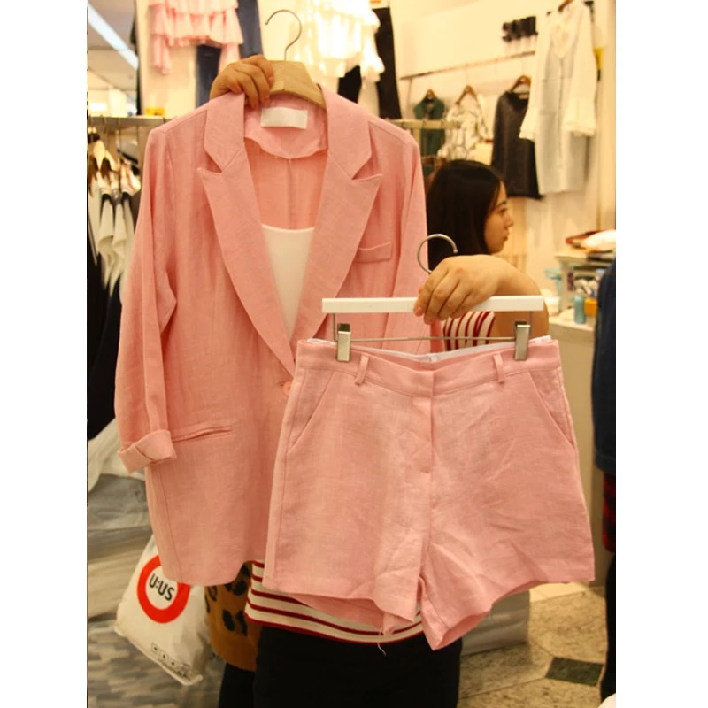 Clearance SaleJacket Shorts Two-Piece Women Suit Cotton Version And Small Linen Loose of New-Style