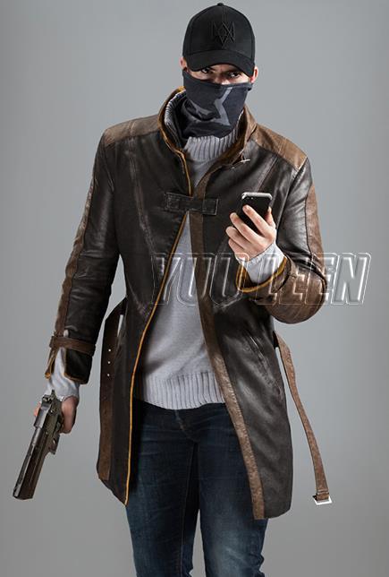 Watch Dogs, косплей, Aiden Pearce, костюм, искусственная кожа, пальто+ шапка+ шарф, маска для лица, один набор, игровой костюм для косплея - Цвет: Коричневый