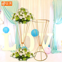 Wedding Flower Vase metal gold flower stand Column Stand for Wedding Centerpiece party Decoration 10pcs/lot