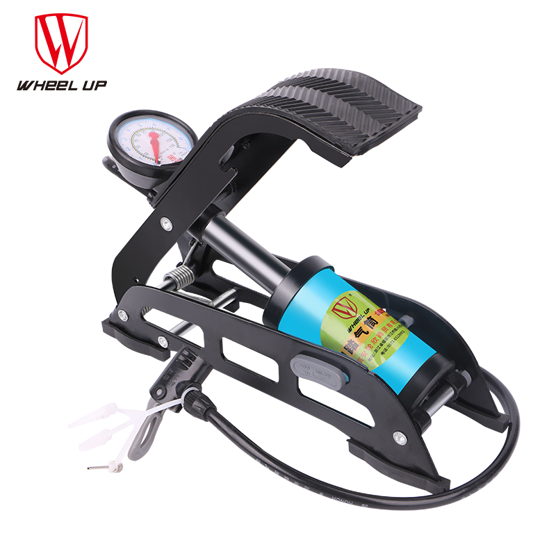 WHEEL UP MTB High Pressure Pump Foot Air Pump Folding Portable Electric Motorcycle Bicycle Pump 130 PSI Single Tube Inflator multi function foot tread high pressure bicycle pump air pump with pressure gauge fzp001