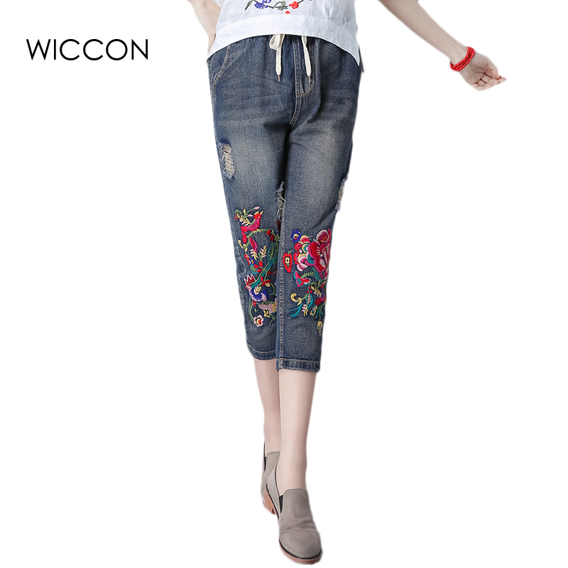 Summer Casual Women Jeans High Waist Floral Embroidery loose straight Drawstring Ripped Fashion Calf-Length Women Denim Trousers new summer vintage women ripped hole jeans high waist floral embroidery loose fashion ankle length women denim jeans harem pants