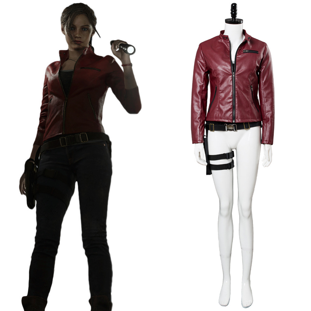 Resident Evil 2 Remake Claire Redfield Cosplay Costume Claire Redfield Costume Red Jacket Outfit Women Halloween Carnival Outfit