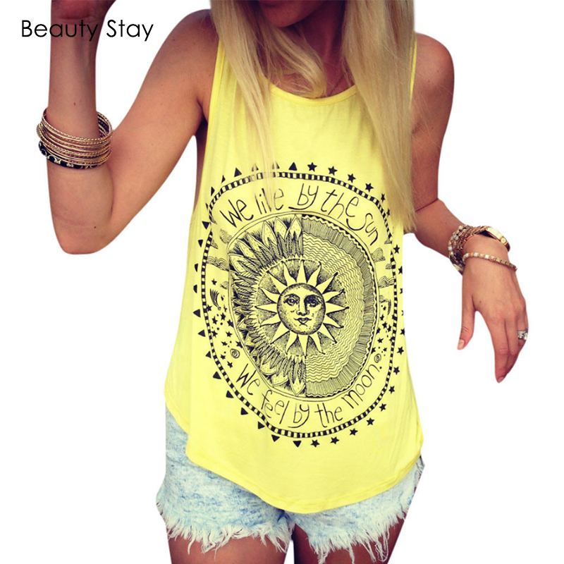 BeautyStay Summer Sun and Moon Circle Printed Women Tank Tops Sexy Punk Rock Casual Camis Cotton Slim Female Vest Tee Shirts