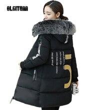 OLGITUM Женщины зимнее пальто куртки хлопка мягкой куртки женщин Большой меховой воротник вниз ватные куртки утолщение женский CD563