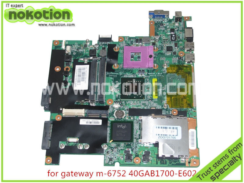NOKOTION 40GAB1700-E602 Laptop Motherboard for gateway M-6752 M-6815 M-6823 Intel GL960 DDR2 Mainboard nokotion sps v000198120 for toshiba satellite a500 a505 motherboard intel gm45 ddr2 6050a2323101 mb a01