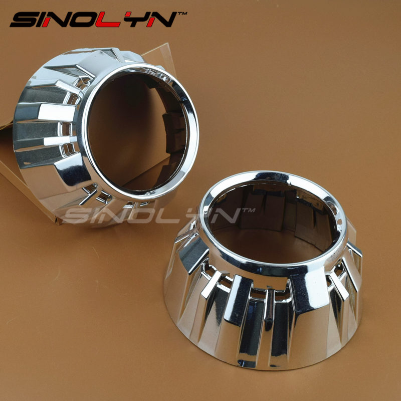 High Temperature Resistant Chrome Finish Gatling Gun 2 Shrouds Masks Hoods for 3.0 inch WST H1 Bixenon Projector Lens