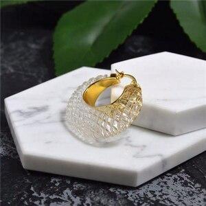 Image 5 - Boucles doreilles pour femmes, cristal, blanc, or acrylique, Bijoux de marque de luxe, à la mode, cerceau, nouvelle collection 2019