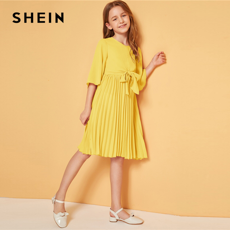 Image 2 - SHEIN Kiddie Solid Tie Front Pleated Girls Cute Dress Kids 2019 Summer Flounce Sleeve A Line Children Knee Length Dresses-in Dresses from Mother & Kids
