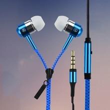 New Metal Zipper Earphones 3 5mm in ear earphone with mic for IPHONE 4s 5 5s