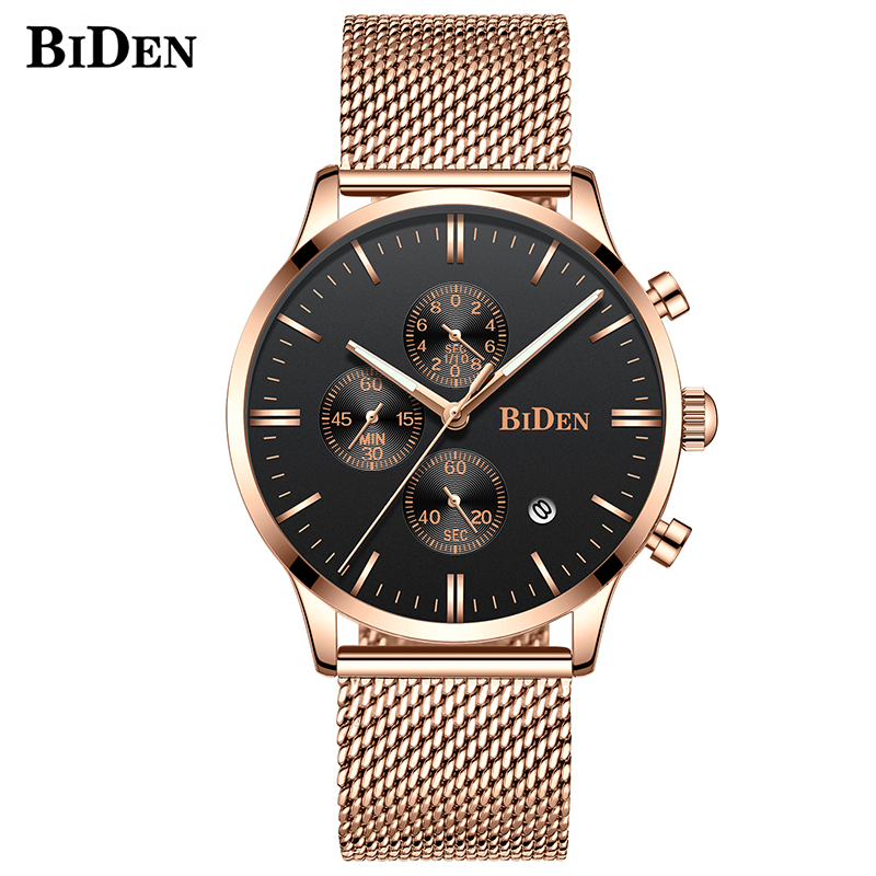 Rose Gold Mesh Wrist Watches For Men Male Clock Relogio Masculino Simple Fashion Function Luxury Quartz WatchRose Gold Mesh Wrist Watches For Men Male Clock Relogio Masculino Simple Fashion Function Luxury Quartz Watch