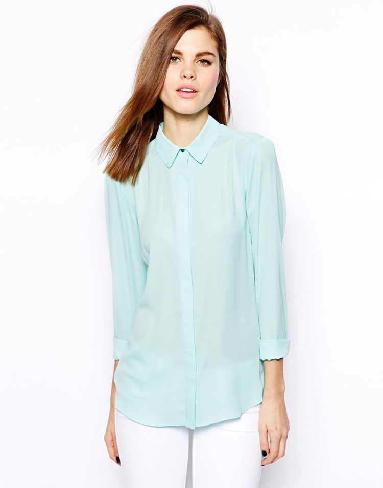 951d6a701f5 Women Chiffon Mint green Blouse XS-XXL Long Sleeve Backless Back Deep V Tops  Blouses Free Shipping SA0776