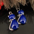 Lapis Lazuli Essence With Lovely Meow Star Figure Pendant Silver Thick  Plating