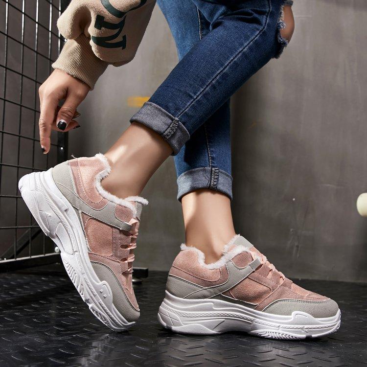 Gris 2019 Zapatos Nuevo Cálido Rosa Mujeres E412 Plataforma Zapatillas Mujer Las Casuales Grey Tacones De Terciopelo Plus Invierno Para Deporte rosado Planos frRqxwf