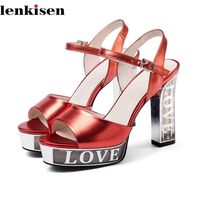 Lenkisen 2018 new arrival peep toe waterproof decoration cow leather causal shoes super high heel nightclub women sandals L77