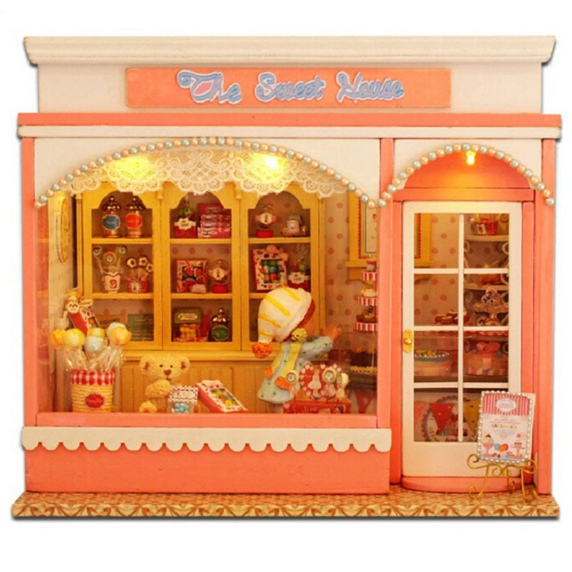 ФОТО DIY Wood Dollhouse Kit Miniature Doll House Furniture Handmade Model Building Kits Toys for Children,The Sweet House Kids Toys