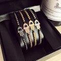 4mm Titanium Steel Bead Braiding Hamsa Fatima Hand Evil charm Eyes Bead Bracelet Micro Pave CZ Bracelets Men's Couple Bracelet