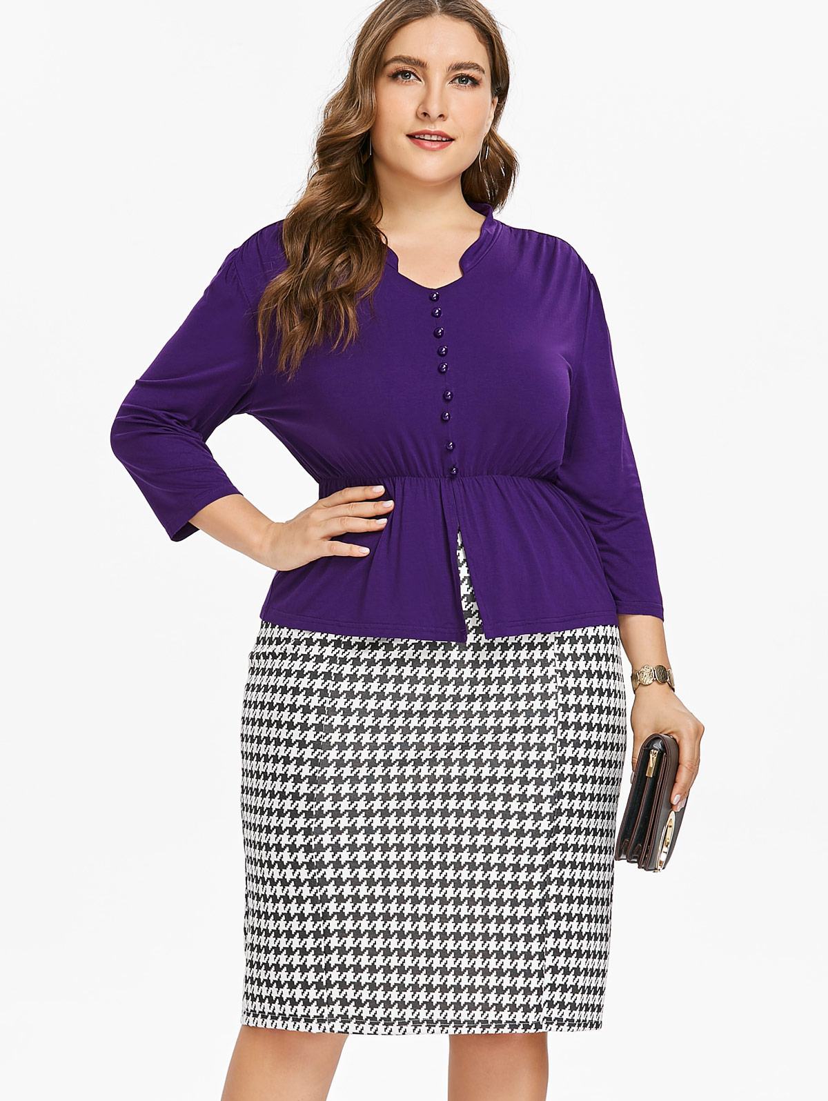 Wipalo Plus Size Button Insert Top And Houndstooth Print ...