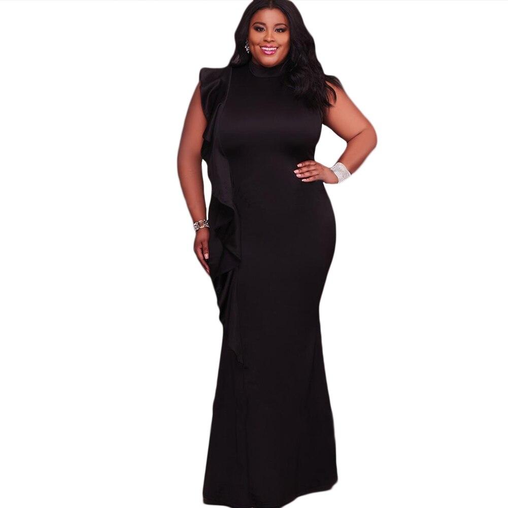 2018 Sexy Women Dress Plus Size Ruffle Side Stand Collar Sleeveless Bodycon Maxi Dress Oversize Party Clubwear 5XL Black/White