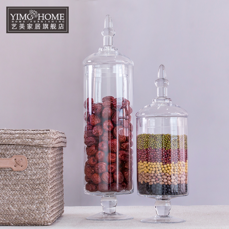 2 set candy jar glass jars for storage wedding decoration container cake dessert food container jars - Decorative Glass Jars