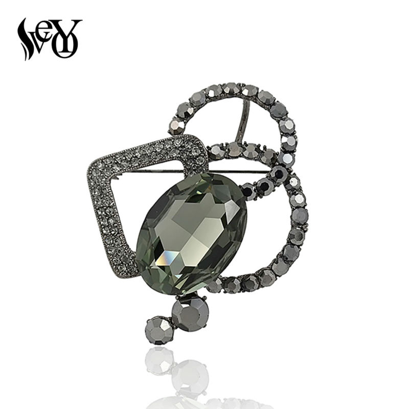 VEYO hoge kwaliteit kristal pins broche mode sjaal geometrische broche broches voor dames