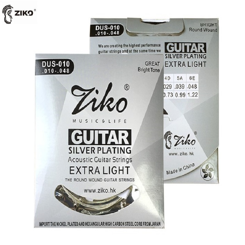 Ziko DUS-010 Silver Plated Acoustic Guitar Strings, Extra Light, 10-48