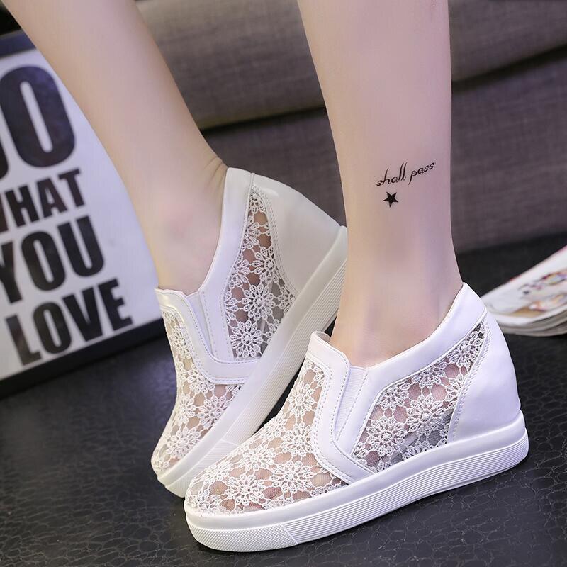 Sapatos Black Lace Bom Femininos Sapatas Floral Nova Preto Verão Cunhas Lona De branco White Chegada Mulheres qxwn74XHUw