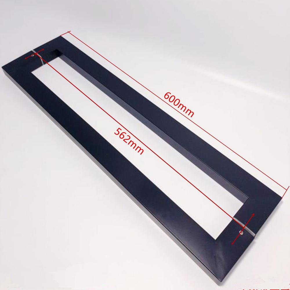 Frosted matte black,Noble Stainless steel Square tube handle, bathroom wooden /glass doors handle, 600mm