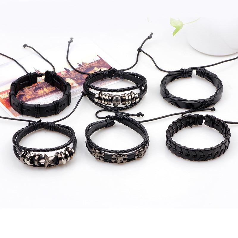 xinyao 6 шт./комп. черный браслет пос из естественной кожи браслет для мужчин ювелирные изделия панк старинные Cage Plate браслет для мужчин для мужской
