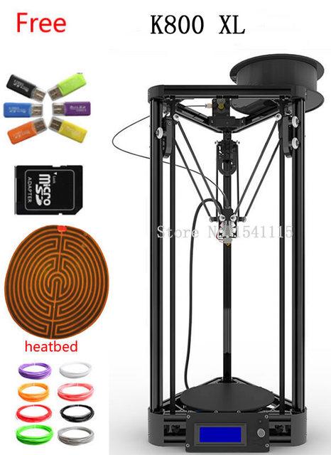 Mais novo ouro preto XL Impressora 3D RepRap Rostock Kossel Completa Máquina Kit KOSSEL K800 XL kit impressora 3D
