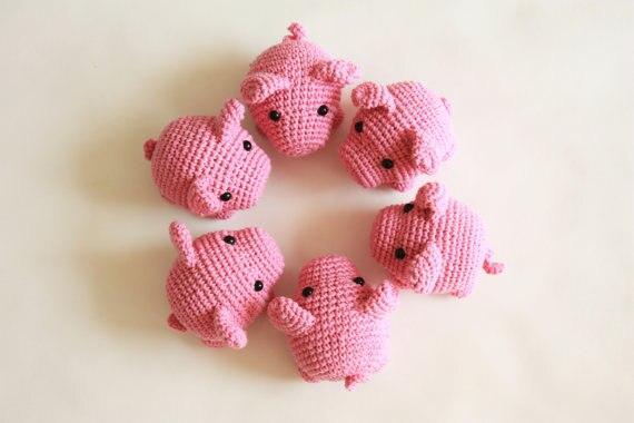 маленькая свинка вязаный крючком амигуруми набивная игрушка купить в