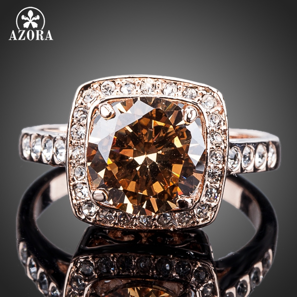 AZORA Royal DesignRose Gold Color With Rhinestones Surrounded Square Orange Crystal Ring TR0095